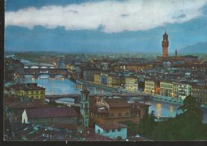 J) 1965 ITALY, POSTCARD, ILLUSTRATED PEOPLE, VIEW OF THE BRIDGETS, CITY OF NIGTH