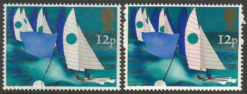 1975 Sailing 12p Missing Rose Pink (Sails) & Black (Rigging) Partially omitted