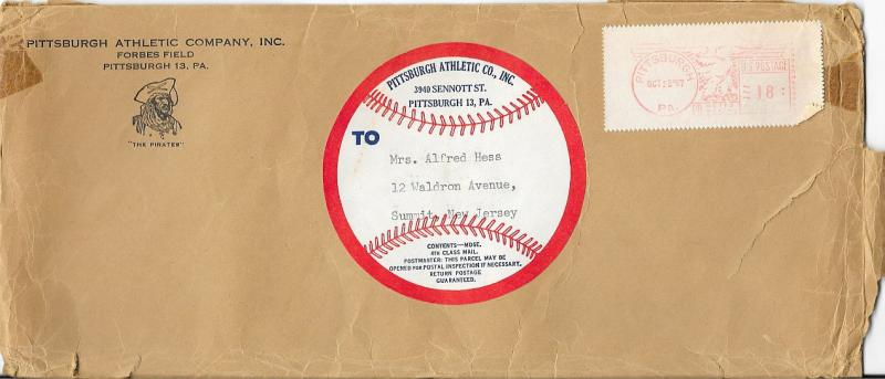 US Cover from the Pittsburgh Pirates 1957 - 4th Class Mail - Meter