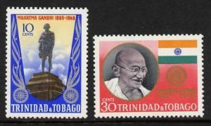 Trinidad & Tobago 181-2 MNH Mahatma Gandhi, Flag, Monument