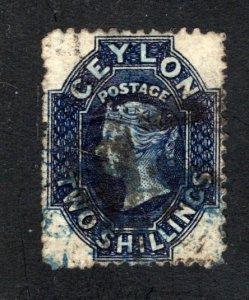 Ceylon #58,  F/VF, Used, Wmk. 1a, CV $45.00 ....  1290045