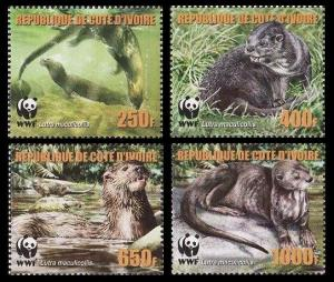 Ivory Coast WWF Speckle-throated Otter 4v reprint MI#1353-1356A