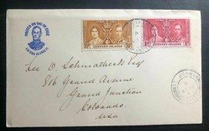 1937 Leeward Island First Day Cover FDC King George VI Coronation KGVI To USA