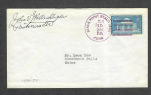 Black Point Beach Club Conn DPO Last Day Cancel PM Signed Cover 1954
