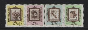 Hungary B228A Strip of 4, U 1962 Austrian Stamp of 1850 with Pesth Postmark