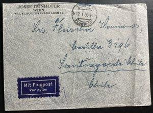 1938 Vienna Austria Airmail Commercial Cover To Santiago Chile Sc#C43