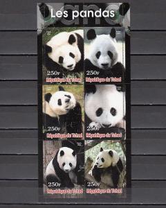 Chad, 2003 Cinderella issue. Pandas sheet.