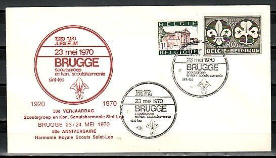 Belgium, 23/MAY/70 issue. Brugge Scout Group cancel on Cachet cover