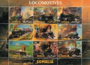 Somalia 2003 LOCOMOTIVES Sheetlet #1 (9) PERFORATED MNH