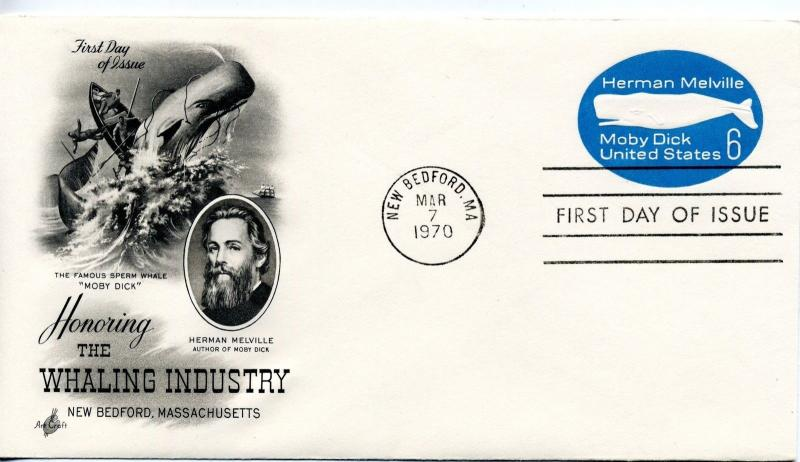 1970 US Sc U554 First Day Cover Herman Melville Whaling Moby Dick Art Craft FDC