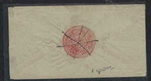 AFGHANISTAN  COVER (PP1404B) RED CIRCULAR STAMP ON SMALL LOCAL COVER  SCARCE