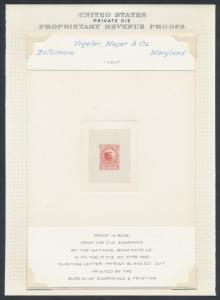 #RS252TC1 EX-JOYCE LARGE TRIAL COLOR DIE PROOF ON INDIA SUNK ON CARD HV7536