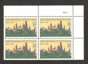3059 Smithsonian Institution Plate Block Mint/nh FREE SHIPPING