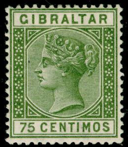 GIBRALTAR SG29, 75c olive-green, M MINT. Cat £32.