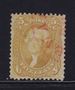 67 F-VF used neat light Red cancel with nice color cv $ 860 ! see pic !