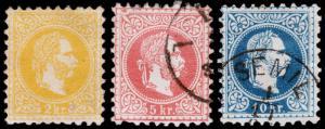 Austria Scott 27, 29-30 (1867-72) Used/Mint H F-VF, CV $122.65 B