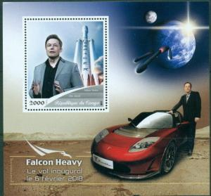 Falcon Heavy Elon Musk Space Tesla Car Exploration Congo MNH