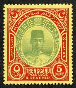 Trengganu SG44 5 Dollar Green and red/yellow Fresh M/Mint