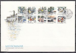 Sweden, Scott cat. 1681-1690. Midsummer Celebration issue. First day cover. ^