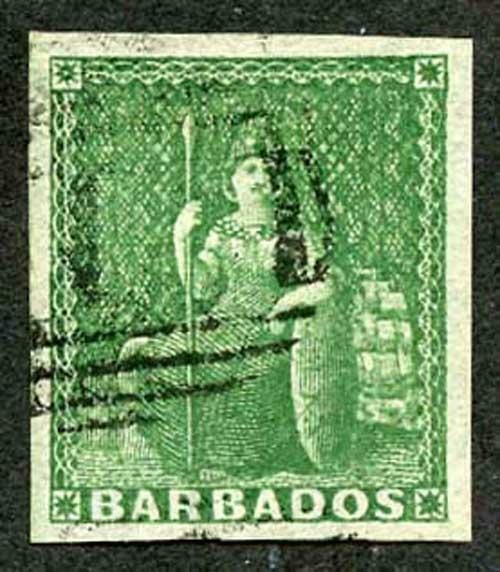 Barbados SG8 (1/2d) green Imperf on white paper with large margin