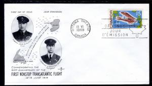 Canada 494 Transatlantic Flight Rose Craft U/A FDC