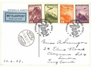 MS1378 1937 AUSTRIA EXHIBITIONS *Hygiene-Ausstellung* PPC Super Airmail Franking