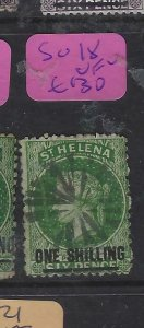 ST HELENA  (P0705BB)  QV 1/-   SG  18  CORK CANCEL      VFU