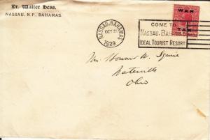 1929, Nassau, Bahamas to Waterville, OH, War Tax MR12 (24016)