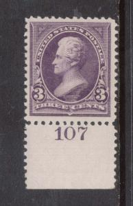 USA #253 XF/NH Plate # Single Gem **With Certificate**