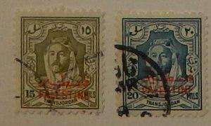 Jordan N10-11. 1948 15m-20m Palestine overprints, used