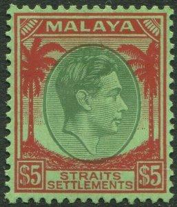 STRAITS SETTLEMENTS-1938 $5 Green & Red/Emerald Sg 292 streaky gum UM V50209