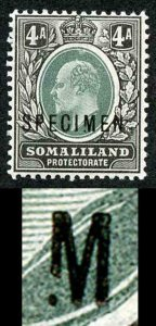 SOMALILAND PROTECT SG37s 1904 4a wmk CA opt SPECIMEN Broken M only 12 possible