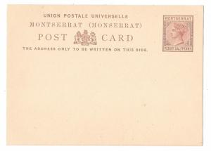 Montserrat 1879 Postal Stationery Card QV 1 1/2 Penny Halfpenny HG 1 Unused