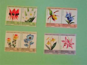 St. Vincent Grenadines, 476-79, MNH Set (Pairs). Flowers. SCV - $1.45