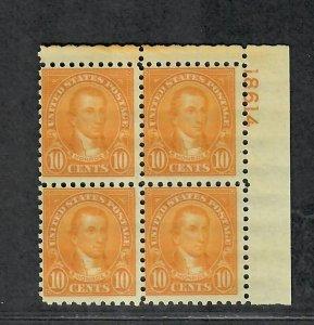 US Sc#591 M/NH/F, Plate Block Perf 10, Cv. $750