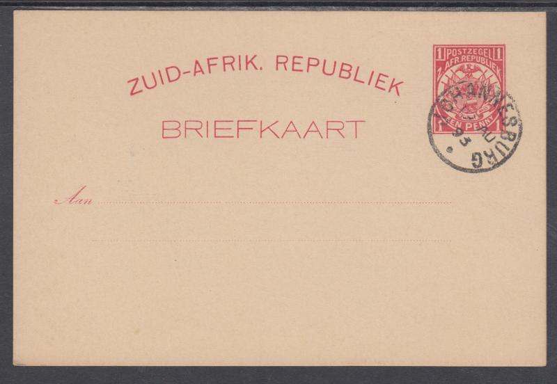 Transvaal H&G 1 used 1885 1p Postal Card, Johannesburg favor cancel, VF