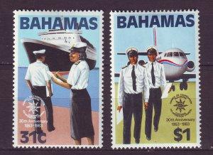 J24194 JLstamps 1983 bahamas set mh #536-7 customs transportation