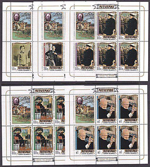 AITUTAKI 1974 Churchill Centenary set of 5 souvenir sheets MNH..............7074