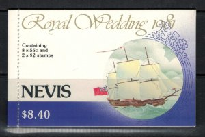 Nevis #135a x 2, #138a* NH  CV $3.95+  Complete booklet Prince Charles wedding