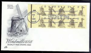UNITED STATES FDC Windmill booklet pane 1980 Artcraft