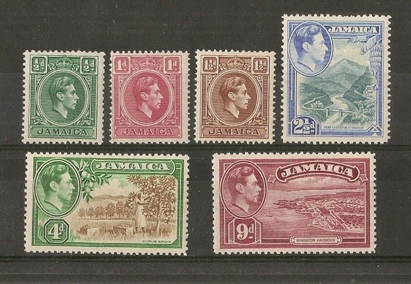 Jamaica 1938 Definitive Selection Mint (6v)