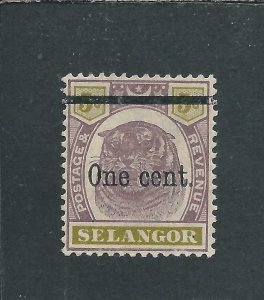 SELANGOR 1900 1c on 5c DULL PURPLE & OLIVE-YELLOW LMM SG 66a CAT £70