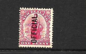 NEW ZEALAND 1908  1d  UNIVERSAL  OFFICIAL  MLH  P14x15  SG O70  CP GO11a