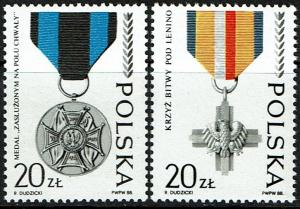 Poland #2869-70 MNH - Army Medals (1988)