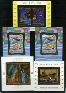EQUATORIAL GUINEA SPACE/AVIATION/SHIPS SET OF 5 S/S GOLD FOIL MNH