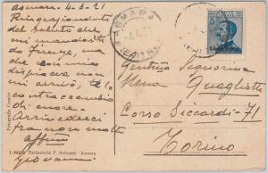 53382 - ITALIA COLONIE: ERITREA  - Storia Postale: CARTOLINA da  ASMARA 1921