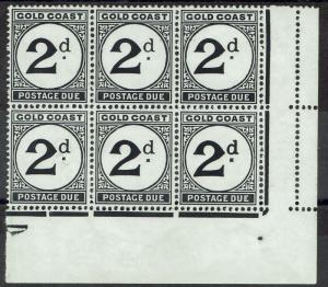 GOLD COAST 1951 POSTAGE DUE 2D BLOCK VARIETY LARGE D MNH **