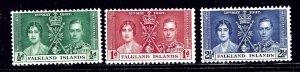 Falkland Is 81-83 MH 1937 KGVI Coronation    (ap1783)