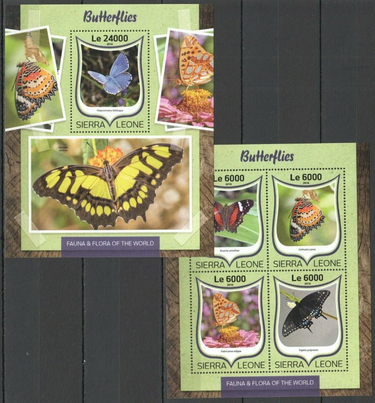 ST284 2016 SIERRA LEONE BUTTERFLIES FAUNA INSECTS KB+BL MNH STAMPS