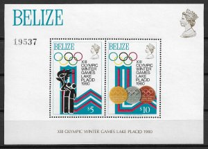 1980 Belize 469 XIII Winter Olympics MNH S/S